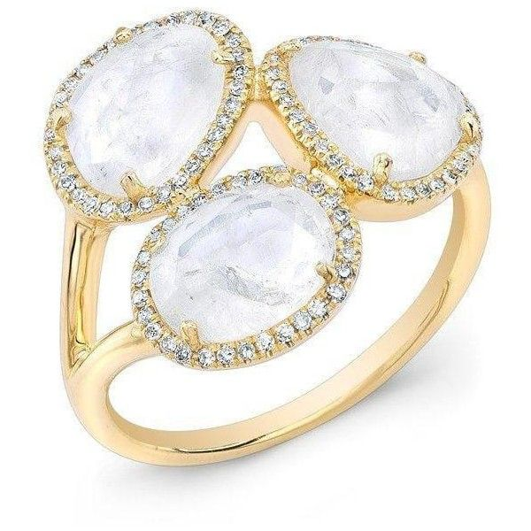 14kt yellow gold moonstone diamond trinity ring ($1,159) ❤ liked on Polyvore featuring jewelry, rings, white moonstone ring, yellow gold diamond rings, party rings, white gold rings and diamond cocktail rings