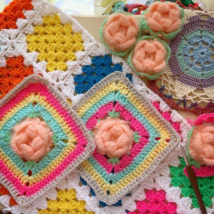 かぎ針編みでグラニースクエア♡100均毛糸もウール毛糸も♪ | Handful