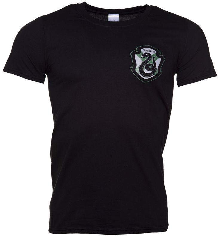 Mens Harry Potter Slytherin Crest T-Shirt If you align yourself with the darker Hogwarts house, Slytherin, this is the tee for you! Featuring the house crest on the chest and the back, no one will be in doubt where your loyalties lie! http://www.MightGet.com/may-2017-1/mens-harry-potter-slytherin-crest-t-shirt.asp