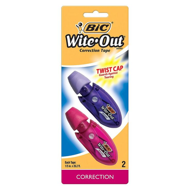 Bic Wite Out 2ct Correction Tape, Purple/Pink