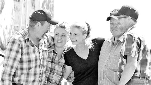 Camelina farmers, the Three Farmers are Dan Vandenhurk left, daughters Elysia and Natasha, Ron Emdy and Colin Rosengren, are putting camelina oil on the map, literally!