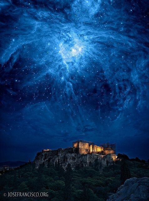 "SO cool!   ""Orion Rising""  by Jose Francisco Salgado.  A composite of an edited Hubble/Spitzer image of the Orion Nebula with a photograph of the Acropolis in Athens. 2008 Photoshop Guru Award Finalist, Photo Montage category, Photoshop World, Las Vegas, Nevada. © José Francisco Salgado, PhD View a 2003 Photoshop Guru Award finalist."