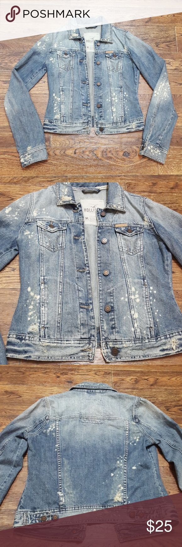 Hollister Destroyed Jean Jacket Jean jacket feom Hollister with factory bleach splatter and fraying. Hand washed only. Last 2 pics show light stains that could come out if machine washed but i haven't tried. Otherwise, in great preowned condition. Hollister Jackets & Coats Jean Jackets