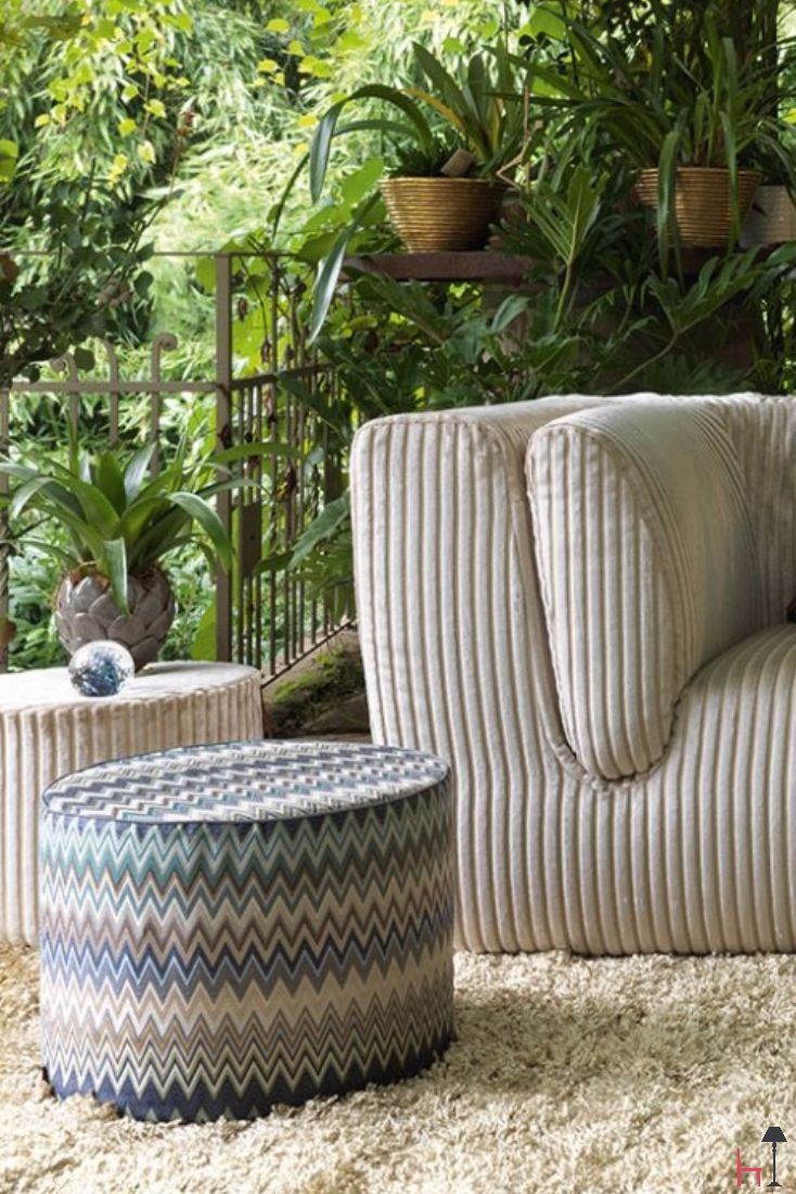 The Masuleh ottoman is an iconic furnishing item by Missoni Home.