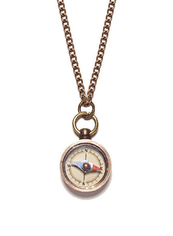 Miniature compass necklace - Antiqued bras chain for men - unique small functional compass pendant for men and women