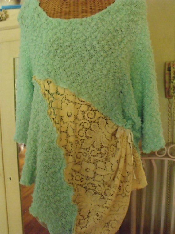 Upcycled knit and lace tunic