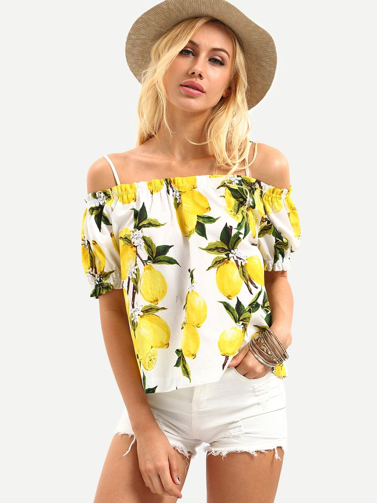 Shop Cold Shoulder Lemon Print Top - Yellow online. SheIn offers Cold Shoulder Lemon Print Top - Yellow & more to fit your fashionable needs.