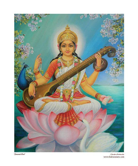 Sarasvati Devi 8x10 matted fine art print fits by ThakuraniArts, $28.00