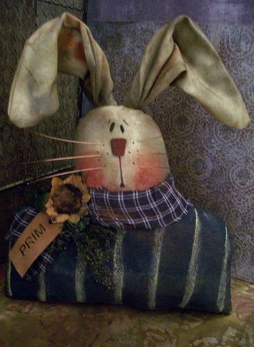 ★ Primitive ★ Large Blue Striped Bunny Shoulders Doll 10 x 10 in ★ |