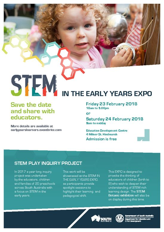 The STEM Play Inquiry Expo showcases the year long work that educators, children and families of 20 preschools undertook across South Australia.This EXPO is designed to provoke the thinking of educators of children (birth to 8) who wish to deepen their understanding of STEM rich learning design.