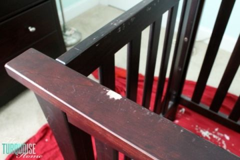 Old Crib with Bite Marks | TheTurquoiseHome.com