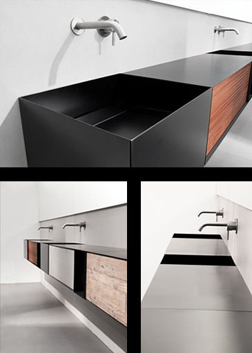 "Moab 80 s.p.a. Composition with black wash-basins, cabinet with ""teak stripes"", Prefinito Cemento, ""re-used"" wood drawers, and and open spac."