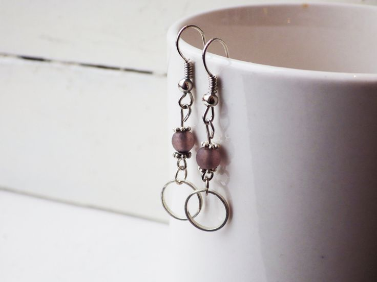 Small Hoops with Frosted Lavendar Glass Earrings by studioCworkshop on Etsy