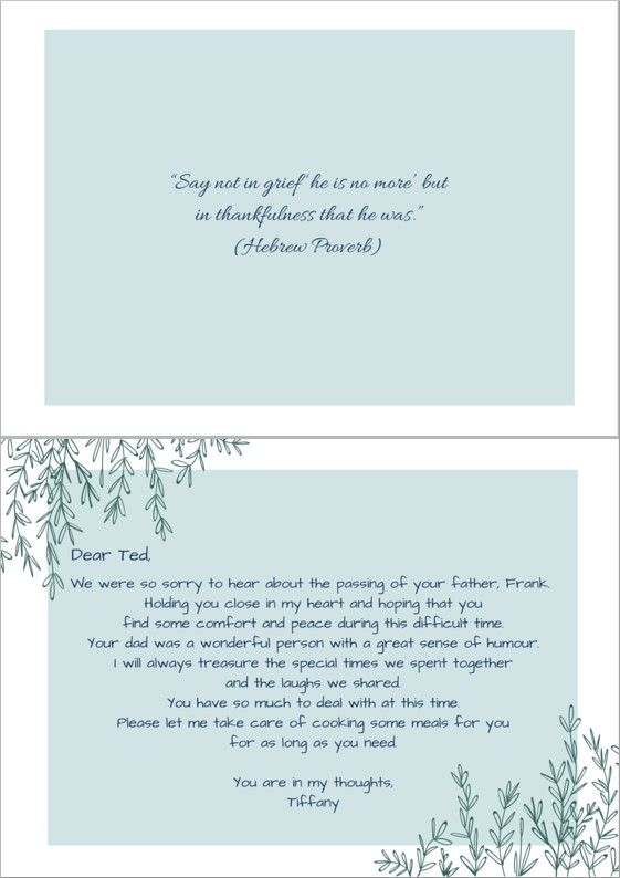 Example of a heartfelt sympathy card message for a friend or loved one who has lost their father. #loveliveson