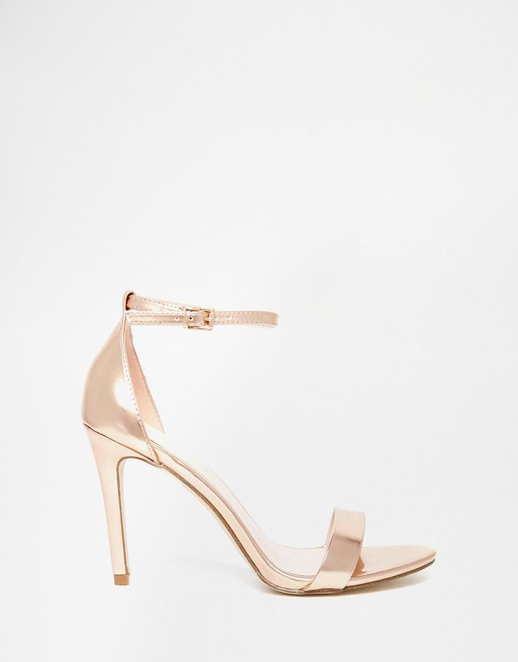 Elegant, rose gold shoes for prom // ALDO Paules Leather Rose Gold Barely There Heeled Sandal
