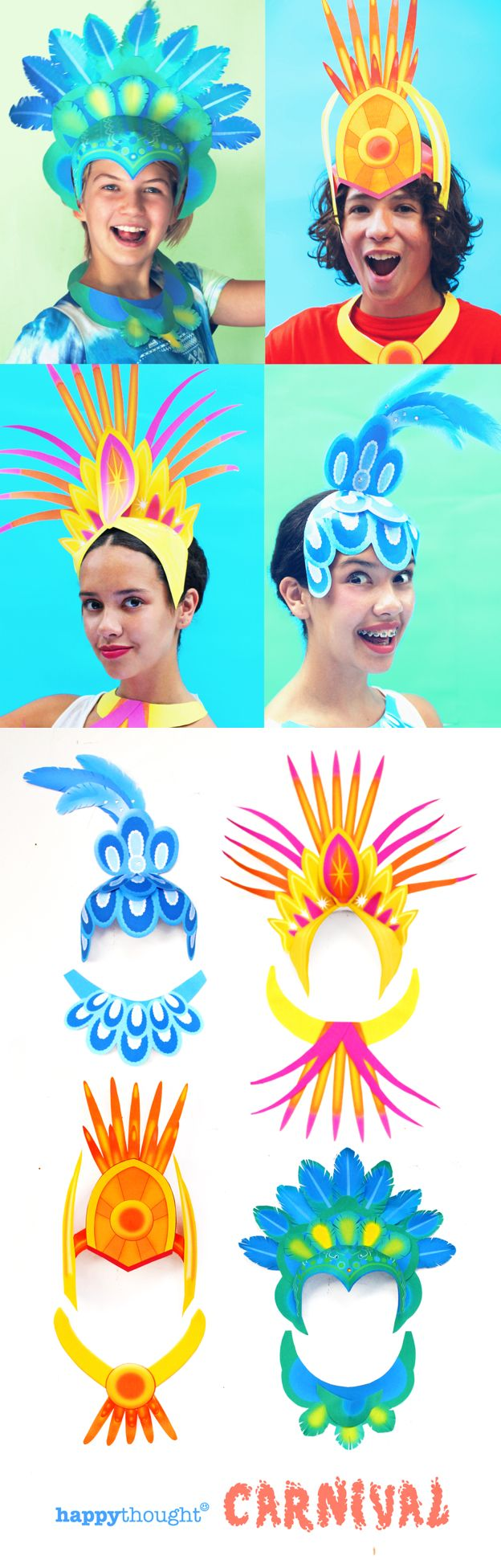 DIY Carnival crowns and necklaces made of paper! Printable templates at happythought.co.uk