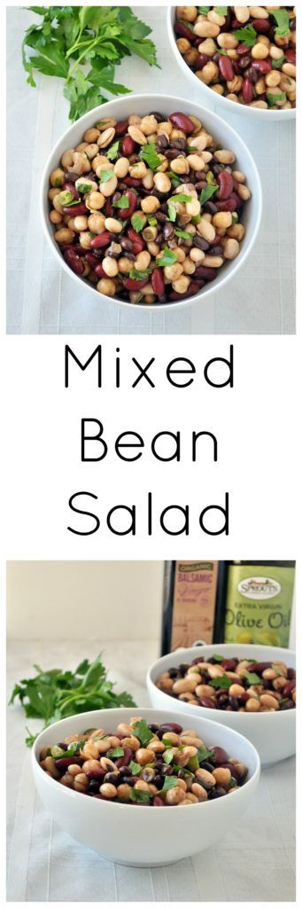 Make this Mixed Bean Salad for your next cookout.  It's loved by all, and only calls for ingredients you already have on hand!  Vegan and gluten free.