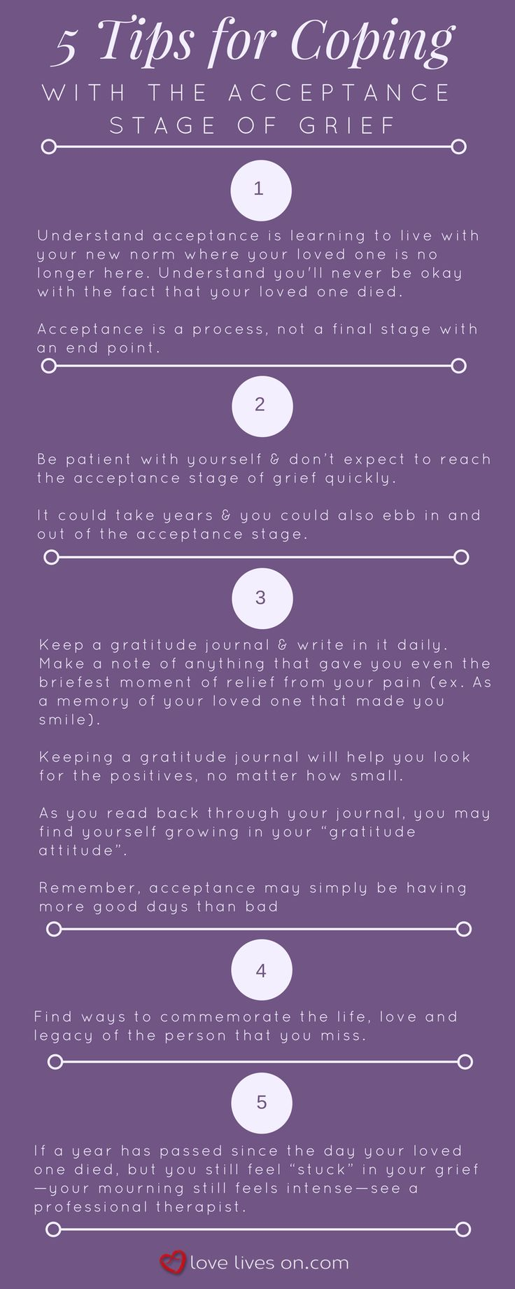 Infographic: 5 Tips for Coping with the Acceptance Stage of Grief.