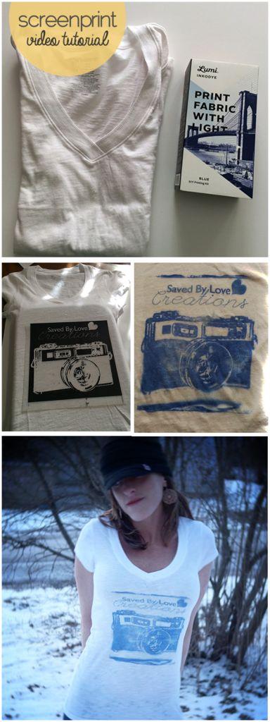 Easy Video DIY How to Make a Custom Print Tshirt using @Lumi Inkodye Screen printing with the sun @savedbyloves