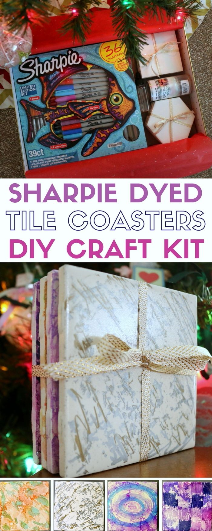How To Make Sharpie Dyed Tile Coasters Diy Craft Kit Gift Diy From