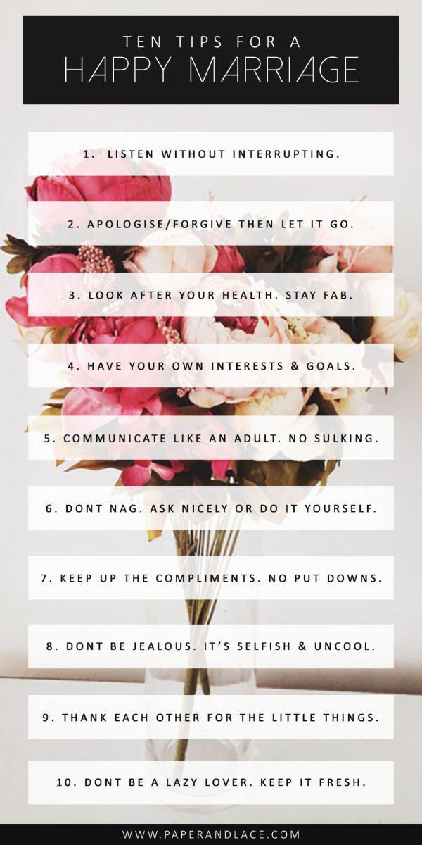 10 tips voor een goed huwelijk