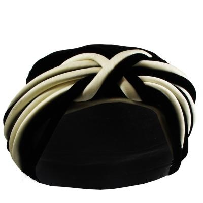 1940's black and white velvet turban