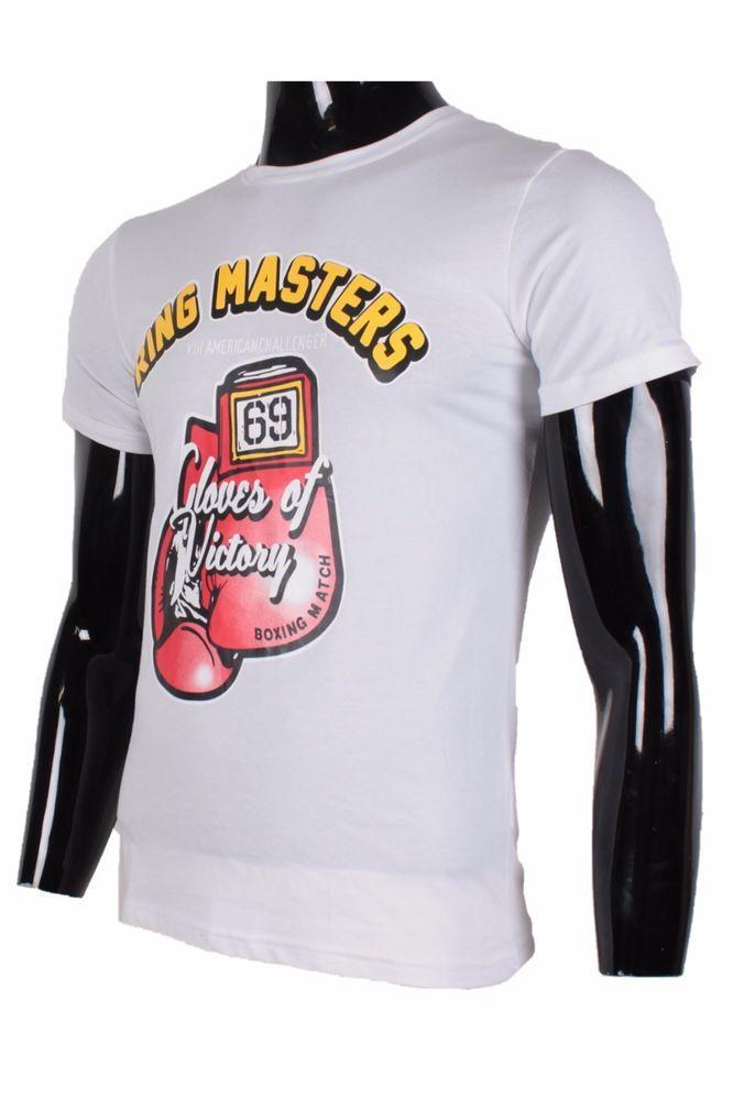 MODE t-shirt homme ras du cou modèle avec imprimé gant de boxe teeshirt