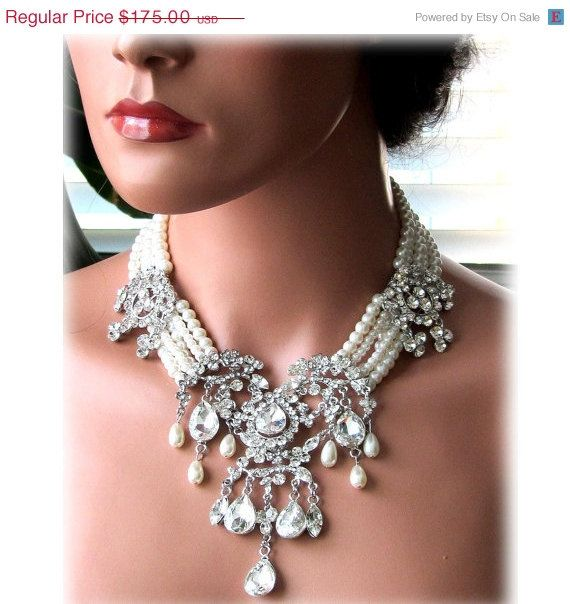 Wedding jewelry, OOAK Bridal bib necklace, vintage inspired pearl necklace, rhinestone Victorian bridal statement necklace. $122.50, via Etsy.