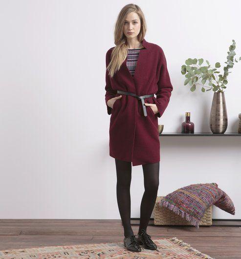Manteau en laine mélangé Femme bordeaux - Promod