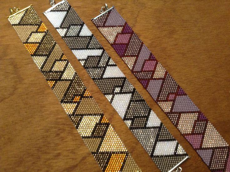Peyote Flat 3-square gemaakt door (en in de workshops van) Crea Nancy