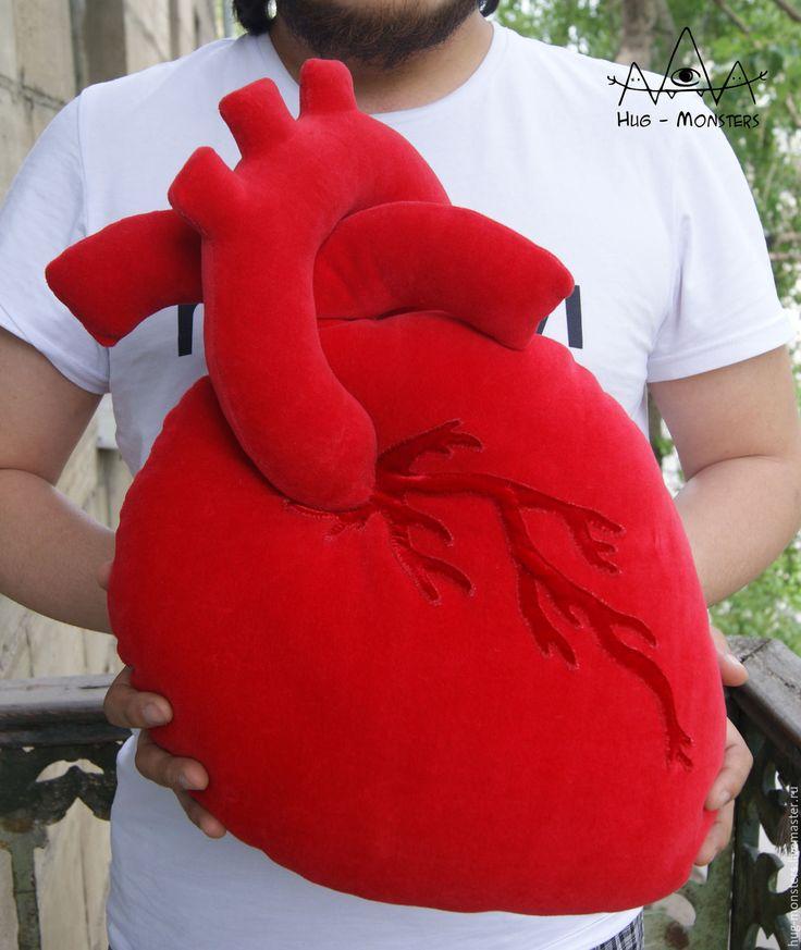 """Купить Подушка Сердце """"настоящее"""" - ярко-красный, сердце, сердце в подарок, анатомическое сердце, сердца"""
