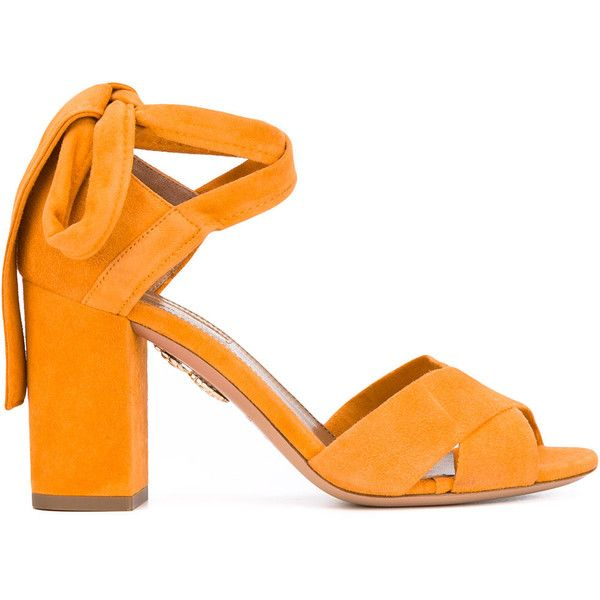 Aquazzura 'Tarzan' sandals found on Polyvore featuring shoes, sandals, heels, orange, open toe sandals, open toe heel sandals, orange heeled sandals, wrap sandals and aquazzura shoes