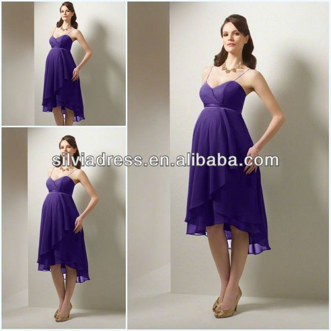 Spaghetti Straps Short Front Long Back bridesmaid dresses for pregnant women $110.00