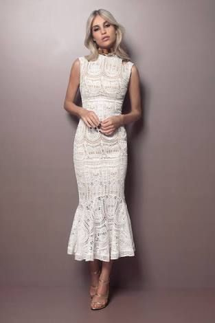 High Neck Evening Dress White Lace Party Dress Mermaid Homecoming Dress