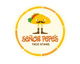 Señor pepe's Logo design - Señor Pepe's Taco stand....brand for taco shop/stand.......play on Taco stand=standing taco:) Ole!!! Price $800.00