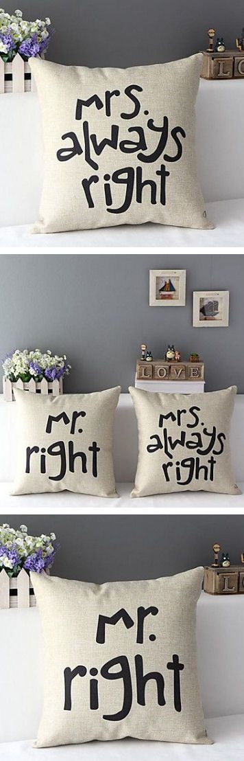 Mr. Right & Mrs. Always Right Throw Pillows ♥ L.O.V.E.