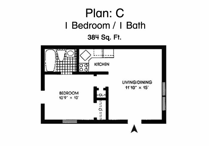 Morningside Gardens One Bedroom Apartment Floor Plan - 1 Bed, 1 Bath, 384 Sq. Ft.
