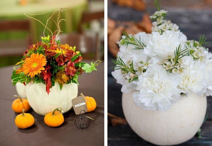 idées de composition florale en vase-citrouille et fleurs assorties