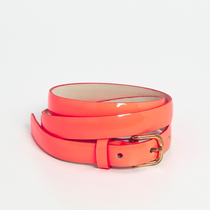 Peach Patent Skinny Belt from Dotti