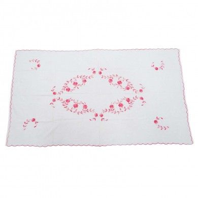 """White Table Cloth Rectangle Table Linen Embroidered Cotton Table Runner 60""""X33"""""""