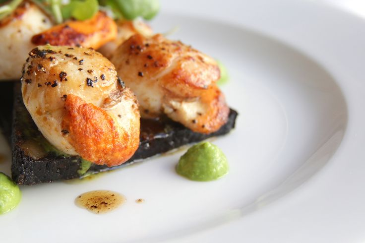 King scallops, black pudding, pea and watercress puree, beurre noisette, available as starter or main course.