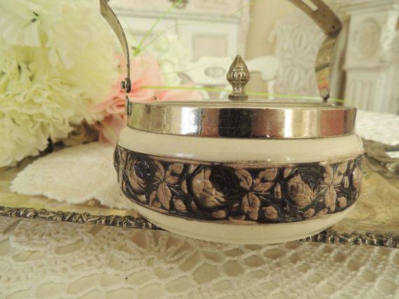 Antique Vintage Sugar Bowl Lidded Ceramic Czechoslovak Czech