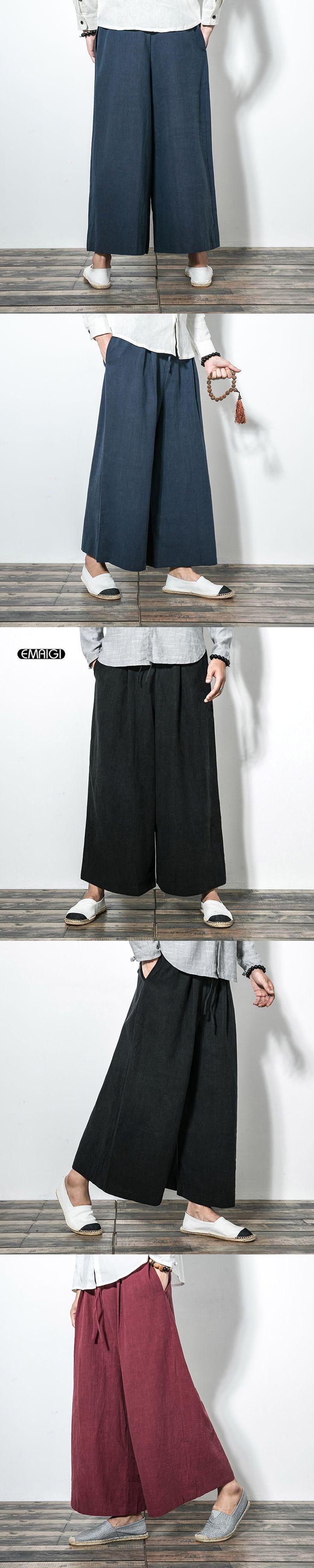 Cotton Linen Casual Pant for Men Wide Leg Pants Japan Style Kimono Punk Style Male Women Fashion Loose Trousers Skirt Pant