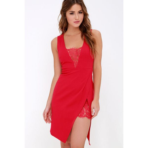 Dance If You Want To Red Lace Dress ($39) found on Polyvore featuring women's fashion, dresses, red, v neck bodycon dress, midi cocktail dress, v neck lace dress, bodycon dress and red v neck dress