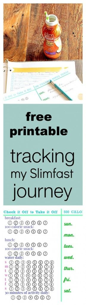Free printable for tracking a Jump Start Slim Fast plan