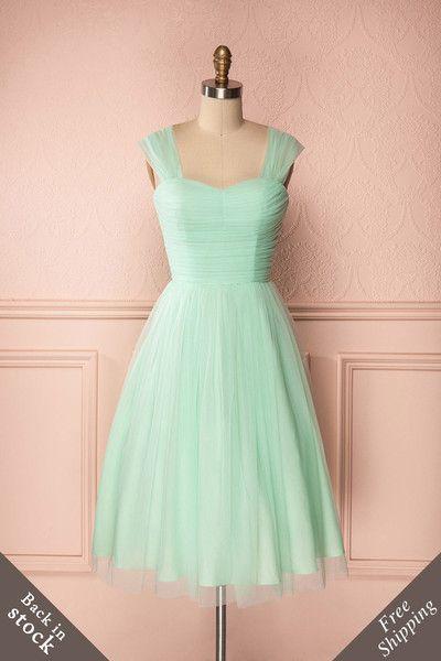 Skye - Mid-length pastel mint green tulle A-line dress