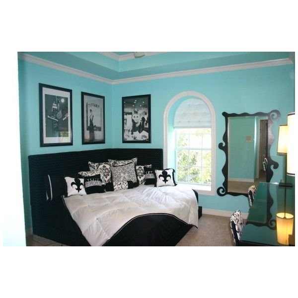 Tiffany Blue Teen bedroom ❤ liked on Polyvore