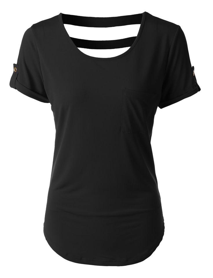 LE3NO Womens Scoop Neck Open Back Short Sleeve T Shirt