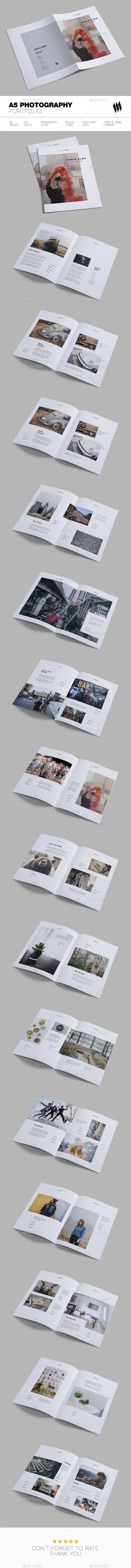 A5 Photographer Portfolio Brochure Template InDesign INDD