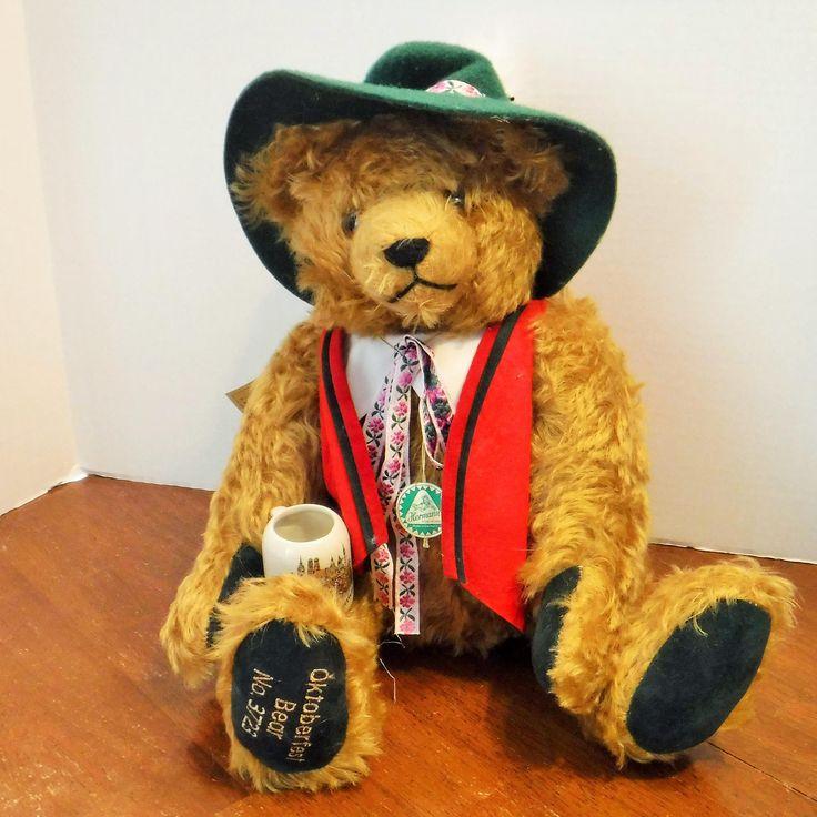 Musical Bear, Hermann Mohair OKTOBERFEST Musical Bear, Rolf's 75th Birthday, Munich Oktoberfest Bear, HERMANN Mohair Bear, made in Germany by BeautyMeetsTheEye on Etsy
